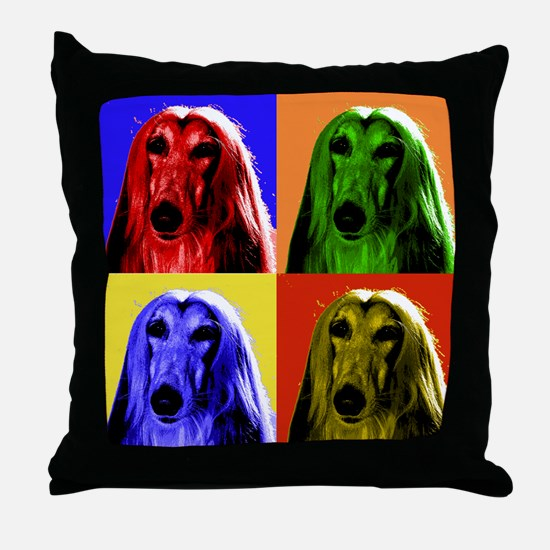 Afghan Hound Color Blocks Throw Pillow