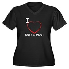 I Love Boys and Girls! Women's Plus Size V-Neck Da