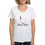 I Love Boys and Girls! Women's V-Neck T-Shirt