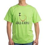 I Love Boys and Girls! Green T-Shirt
