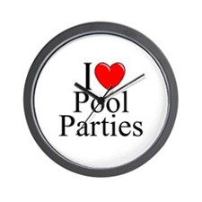 """I Love (Heart) Pool Parties"" Wall Clock"