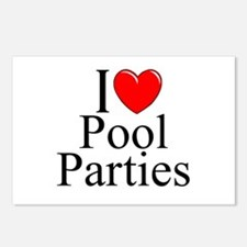 """I Love (Heart) Pool Parties"" Postcards (Package o"