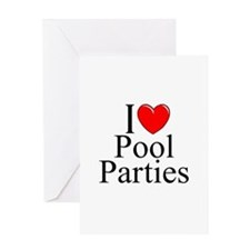 """I Love (Heart) Pool Parties"" Greeting Card"