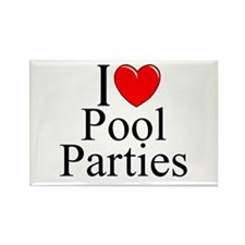 """""""I Love (Heart) Pool Parties"""" Rectangle Magnet"""