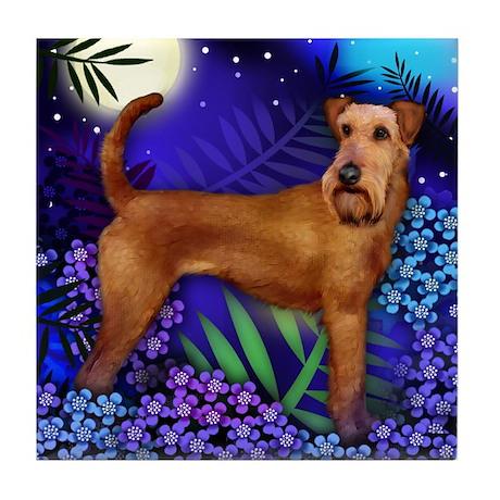 IRISH TERRIER DOG MOON GARDEN Tile Coaster