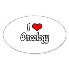 """""""I Love Oncology"""" Oval Decal"""