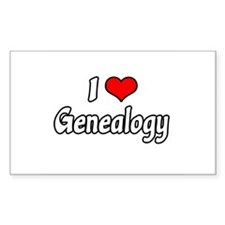 """I Love Genealogy"" Rectangle Decal"