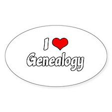 """I Love Genealogy"" Oval Decal"