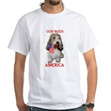 PBGV with Flag White T-shirt
