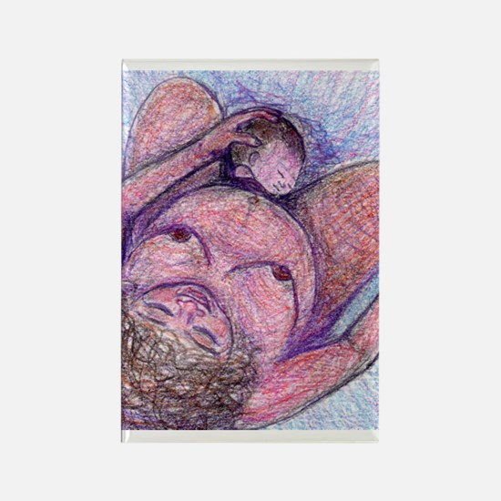 Birth Art - 'Mama Births' Rectangle Magnet
