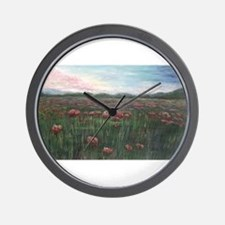 French Poppies Wall Clock