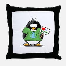 Love the Earth Penguin Throw Pillow