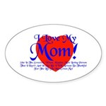I Love Mom! Oval Sticker (50 pk)