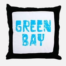 Green Bay Faded (Blue) Throw Pillow