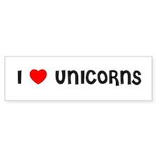 I LOVE UNICORNS Bumper Bumper Sticker