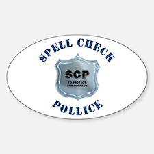 Spell Check Police Oval Sticker (50 pk)
