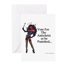 VoteTheAntichristLarge Greeting Cards