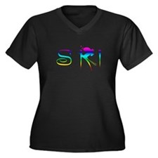 SKI RAINBOW Women's Plus Size V-Neck Dark T-Shirt