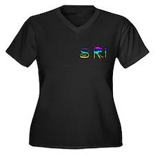 SKI RAINBOW Women's Plus Size V-Neck Dark T-Shirt