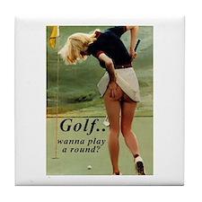 Cute Women's golf Tile Coaster