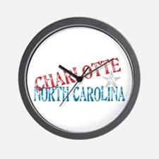 Charlotte North Carolina Retro Wall Clock