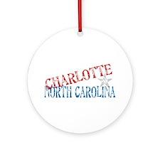 Charlotte North Carolina Retro Ornament (Round)