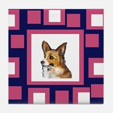 CORGI pink pop design Tile Coaster