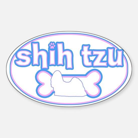 Powderpuff Shih Tzu Oval Decal