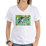 Irises / Miniature Schnauzer Women's V-Neck T-Shir