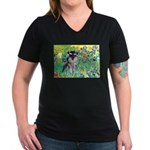 Irises / Miniature Schnauzer Women's V-Neck Dark T