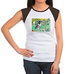 Irises / Miniature Schnauzer Women's Cap Sleeve T-