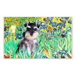 Irises / Miniature Schnauzer Sticker (Rectangle)