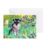 Irises / Miniature Schnauzer Greeting Cards (Pk of