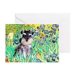 Irises / Miniature Schnauzer Greeting Card