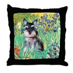 Irises / Miniature Schnauzer Throw Pillow