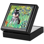 Irises / Miniature Schnauzer Keepsake Box