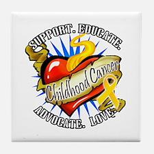 CC Heart Tattoo Tile Coaster