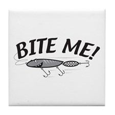 Bite Me Fishing Lure Tile Coaster