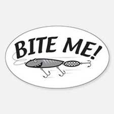 Bite Me Fishing Lure Oval Decal