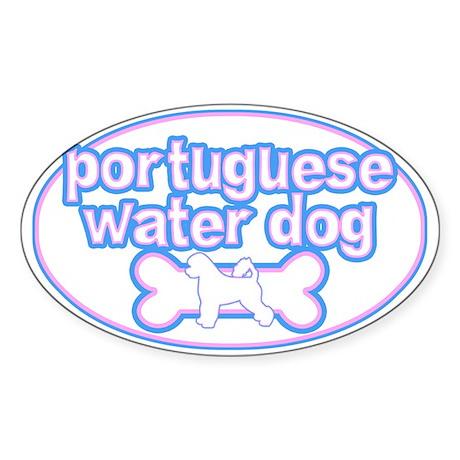 Powderpuff Portuguese Water Dog Oval Sticker