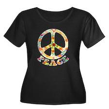 Painted Peace Symbol Women's Plus Size Scoop Neck