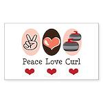 Peace Love Curl Curling Rectangle Sticker 50 pk)