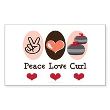 Peace Love Curl Curling Rectangle Decal