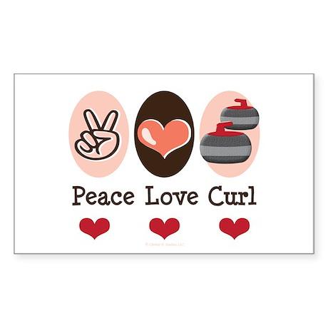 Peace Love Curl Curling Rectangle Sticker