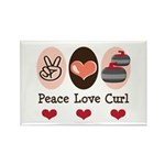 Peace Love Curl Curling Rectangle Magnet