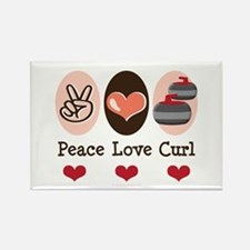 Peace Love Curl Curling Rectangle Magnet