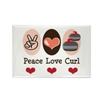Peace Love Curl Curling Rectangle Magnet (10 pack)