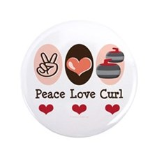 """Peace Love Curl Curling 3.5"""" Button (100 pack)"""