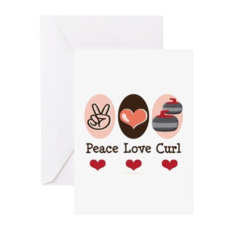 Peace Love Curl Curling Greeting Cards (Pk of 20)