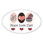 Peace Love Curl Curling Oval Sticker (10 pk)